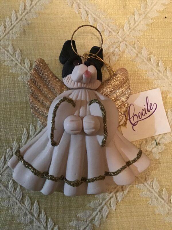 """Cecile Baird Vintage Polymer Border Collie Ornament 4"""" Signed"""
