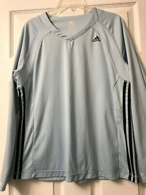 ADIDAS Womens Long Sleeve TOP Size XL Baby Blue V-NECK Athletic Pullover -