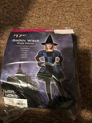 Halloween Costume Girl's Gothic Witch Blue Small, Large, or XLarge (Boy Witch Costume)
