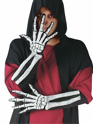 Skeleton Gloves With Arm 3D Bone Features Halloween Adult Costume Accessory - Skeleton Arm Gloves