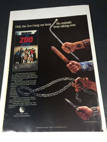 """Vintage 1985 THE ZOO GANG New World Home Video poster Print AD 11"""""""