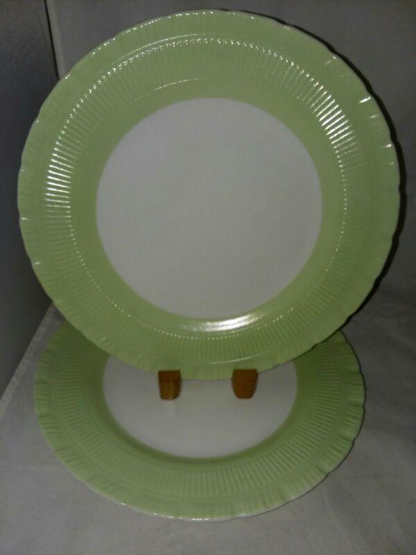 Macbeth Evans Cremax Oxford Green Boarder Rim 2 Dinner Plates Circa 1940s
