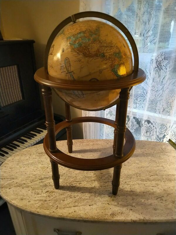 """Vintage 12"""" Crams Imperial World Globe On 19"""" Powell Wood Stand"""