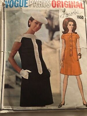 Vintage 1960s Vogue Paris Original Pattern 1950- Laroche- Bust 36/ Size 14