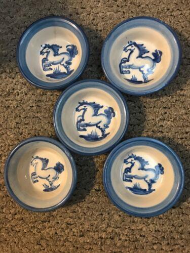"Set of 5 Vintage M.A. Hadley Pottery 4.5"" Finger/Mini Bowl w/Blue Horse Motif."