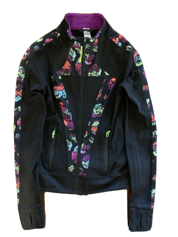 Pre Owned Ivivva Black with Flowers Dance Jacket - Size 10 Child