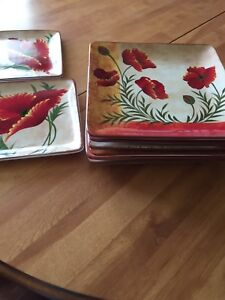 Hand painted earthenware plates