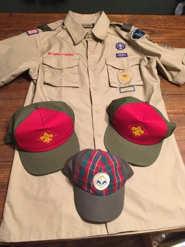Lot Of 4 Boy Scouts Leader Hats Caps Shirt Adult And Child