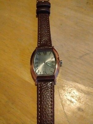 Vintage SKC Copper Unisex Watch, running w/new battery/leather C