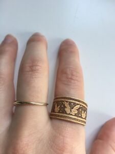 Butterfly engraved adjustable wood ring