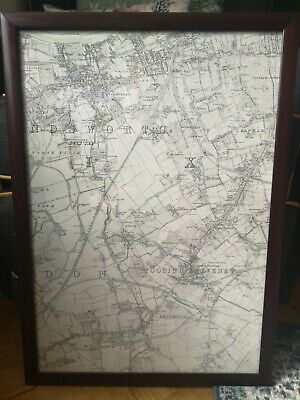 Framed Old Map of South London. Tooting Clapham Wandsworth. Vintage Antique Map