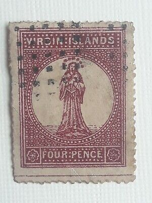 VIRGIN ISLANDS 1867 4d lake red. Pinkish toned paper 15 perf. Used sg15?