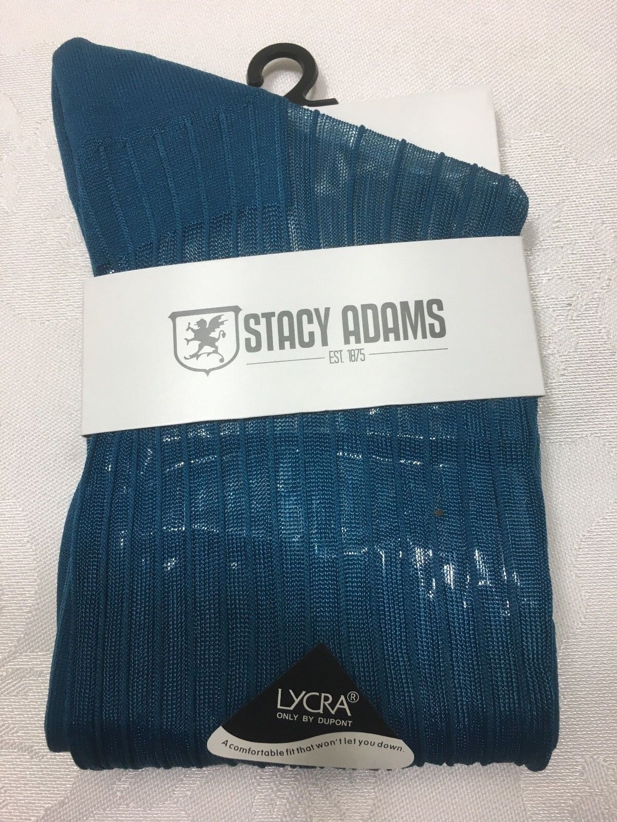 ONE PAIR NEW WITH TAG STACY ADAMS SLIKY RIBBED MEN'S CREW  SHORT SOCKS Clothing, Shoes & Accessories