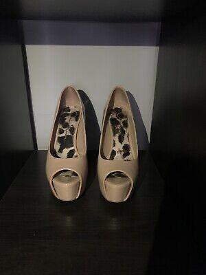Jessica Simpson Nude Peep Toe Stilello Heel Shoe - Size 5.5