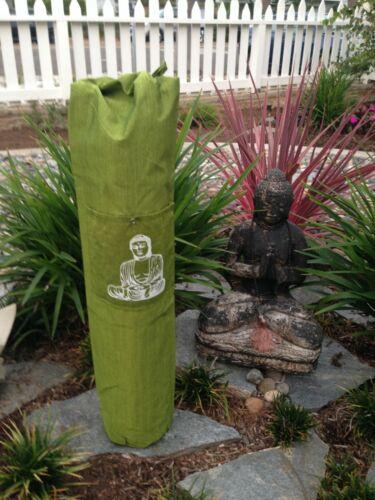Olive Green Cotton Yoga Mat Bag With Shoulder Straps Front Pocket.Buddha Print
