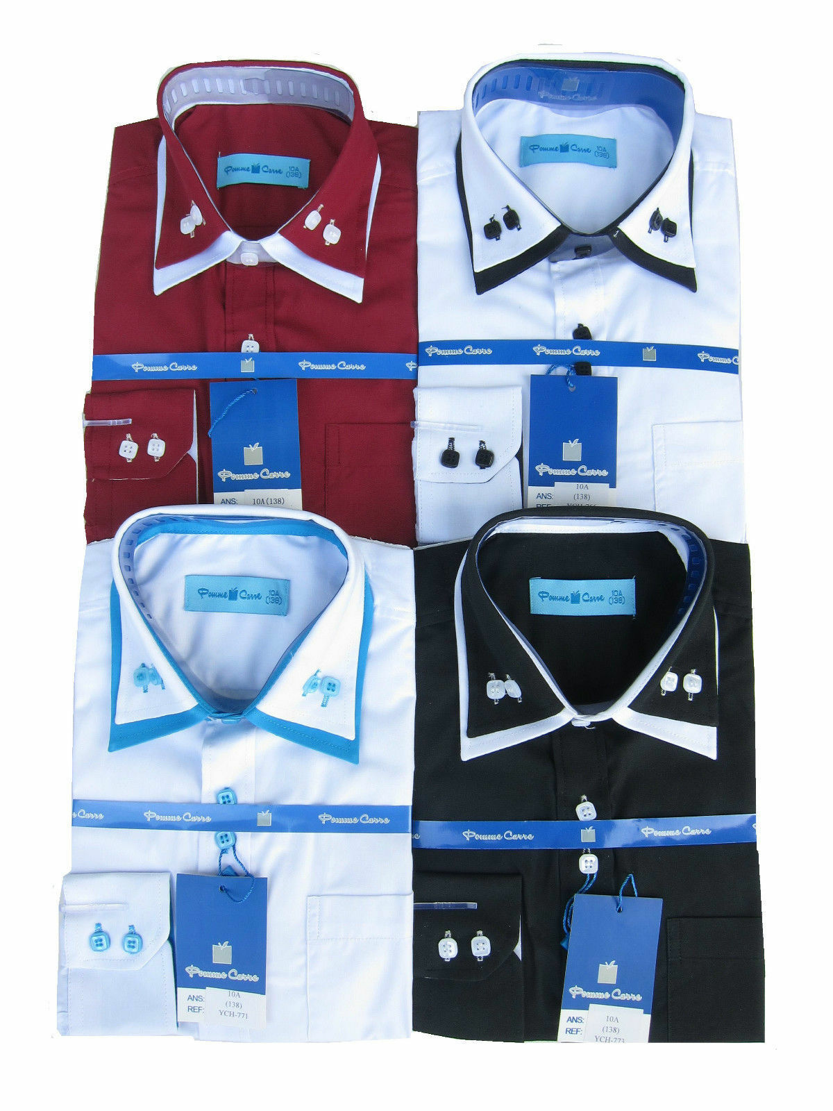 Los muchachos de largo Collar doble manga botón abajo camisa Formal Smart  2 7ed0d191f9220