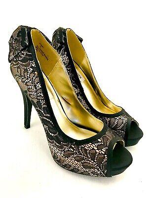Steve Madden Dawn Black Lace Bow Peep Toe Platform Heel Size 9 Sexy NEW Bow Peep Platform