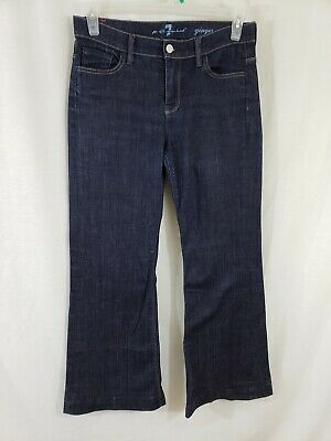 7 for All Mankind Ginger Womens Denim Blue Jeans Size 29 x 31 Wide Leg Dark EUC 7 For All Mankind Ginger