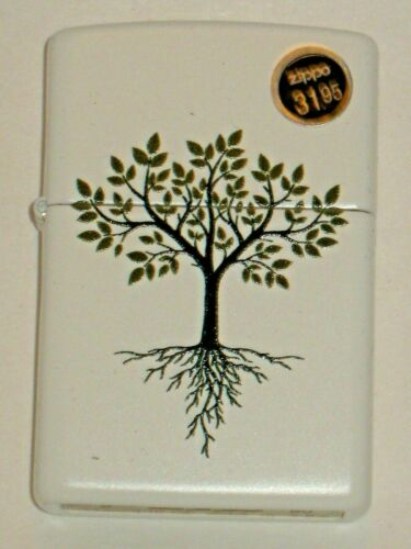 A New Genuine ZIPPO Windproof Lighter USA 80232 Tree of Life White Matte Case