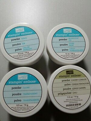 Stampin up embossing powder, cherry cobbler, gold, clear, iridescent ice, new