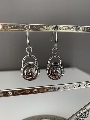NWOT MICHAEL KORS Silver Dangle French Wire PADLOCK PAD LOCK EARRINGS MKJ1092