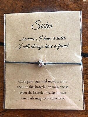 Sister I will Always have a Friend GIFT String Friendship Wish Bracelet