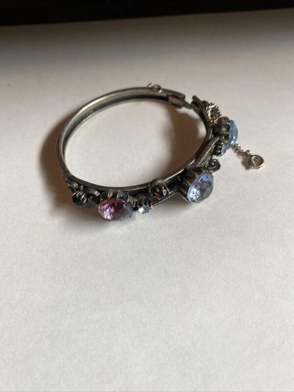 Vintage  Florenza Silver Tone Bracelet with Crystal Jewels Missing one Stone