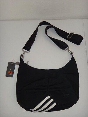 Used, Y-3 by Yohji Yamamoto Women's Cross-body Hobo Bag Black Techno Fabric 3 Stripes for sale  USA