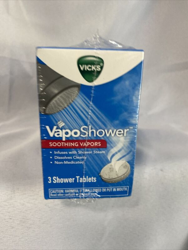 12 Vicks VapoShower Soothing Natural Menthol Vapors (4 Boxes of 3 Tablets Each)