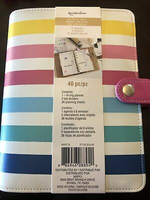 Brand New Recollections Planner Agenda Binder 6-rings Colorful Stripes