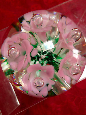 Gibson signed paperweight - pale pink flowers