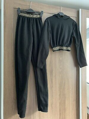 Versace Inspired I Saw It First Black Cropped Hoodie Tracksuit Size S/M