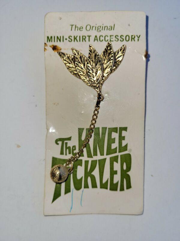 Vintage The Knee Tickler Women Mini Skirt Swinger Pin on Original Card