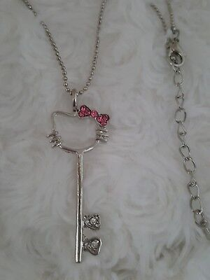 Hello Kitty Necklace & Pendant key silver ball adjustable chain pink crystal bow