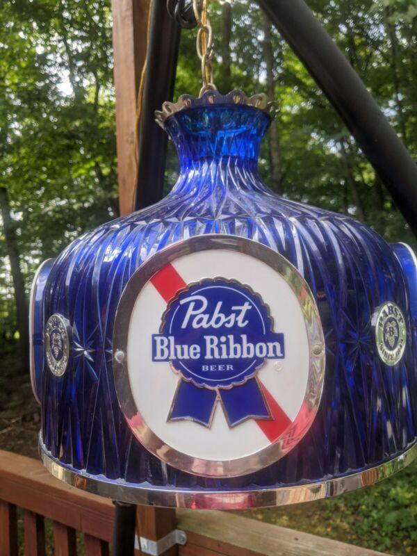 Vintage Pabst Blue Ribbon PBR Beer Chandelier Hanging Working Light Bar Sign