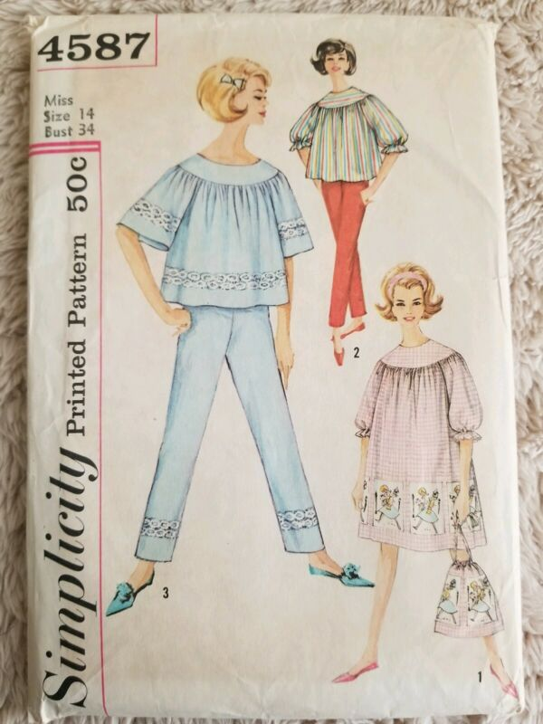 1950s Simplicity Pattern 4587 Size 14 Misses Nightgown Pajamas Laundry Bag