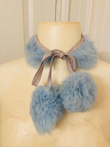 Vintage 1950s fur collar, rabbit dyed blue with pom poms