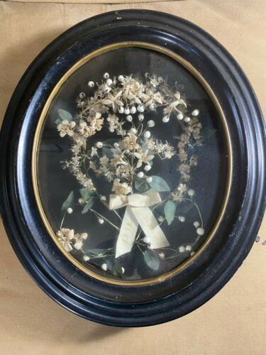 Superb Antique 1874 Victorian Mourning Wreath In Shadowbox Case