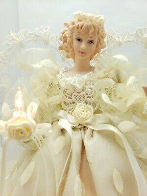 Vtg Beautiful Hanford's Victorian Light Up Angel Tree Topper Cream Dress Statue