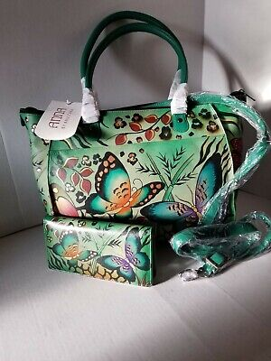 Anuschka Anna Animal Butterfly Green Butterfly Large Tote  Set NWT