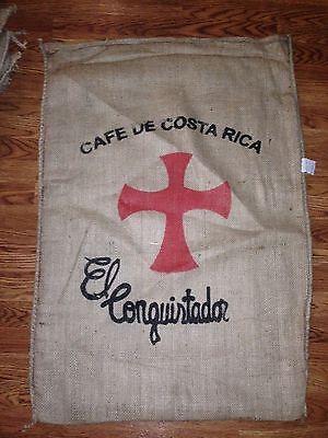 ONE (1) COSTA RICA CAFE  COFFEE BURLAP SACK BAG EL CONQUISTADOR CROSS for sale  Fort Worth