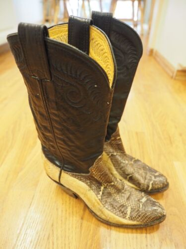 MENS, OLATHE, COWBOY, LEATHER, SNAKE, SKIN, , Black, BOOTS, SIZE, 6.5B