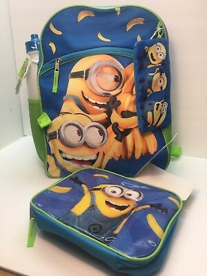Despicable Me Backpack, 5pc Set, Lunch Bag,Gadget Case, Water Bottle, Carabiner - Despicable Me Backpack