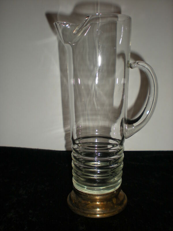 vtg Martini Pitcher with Brass Base