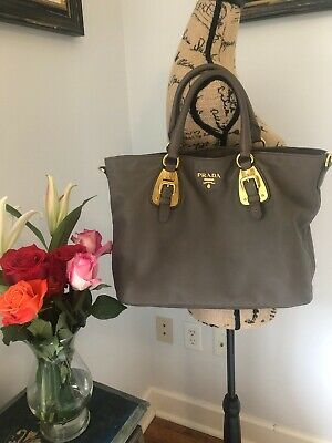 PRADA Gray Gold Leather Authentic Bag Tote Satchel