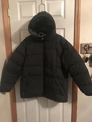 PATAGONIA Men's GOOSE DOWN PUFFER SKI Hooded Jacket Navy Size L LARGE ~EUC~