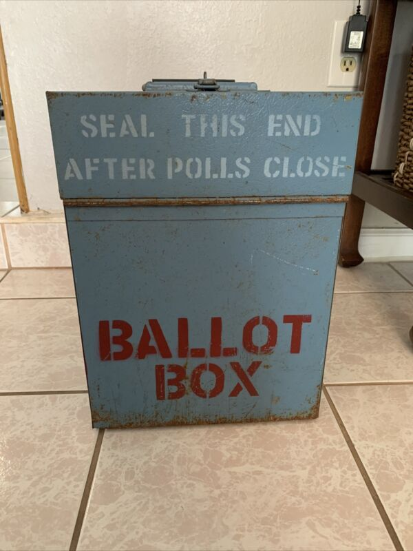 Antique ,Vintage, Steel/ Metal Voting Ballot Box. Awesome Piece Of History!