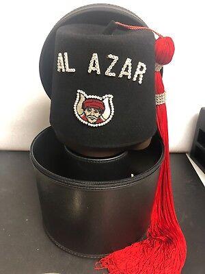 - Vintage Masonic Zafar Fez Grotto MENS Hat Masons 7 1/8 Red Fring