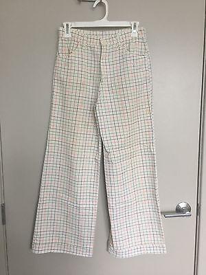 "Vintage 1970's Handmade Rainbow Checkered Twill High Waist Wide Leg Pants 26"""