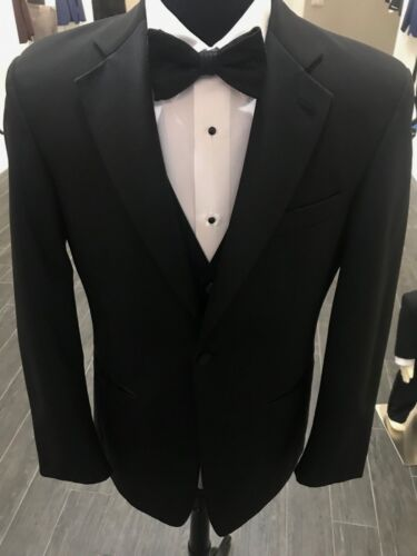 ANDREW FEZZA Black 1-Button Notch WOOL Tuxedo Coat
